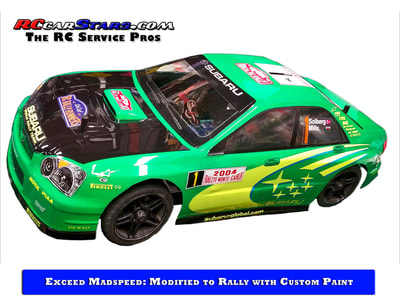 Exceed Madspeed Drift Car modified to a Rally Car with Custom Paint and Decals